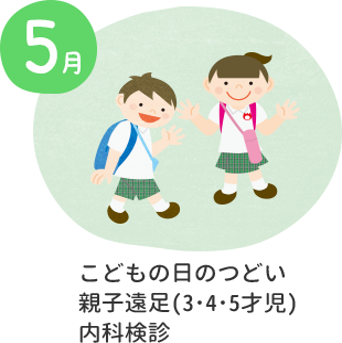 5月 こどもの日のつどい・親子遠足(3・4・5才児)・内科検診