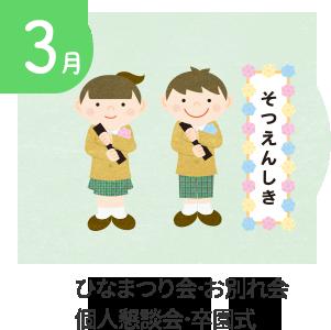 3月 ひなまつり会・お別れ会・個人懇談会・卒園式